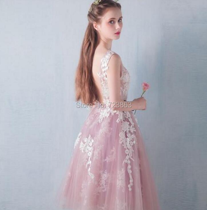 04b5498459 Piękny różowa suknia balowa suknie balowe 2017 O szyi sukienki na przyjęcie  krótki Lady Dress Tulle otwórz powrót aplikacje wieczór sukni M2099 w Piękny  ...