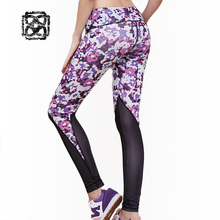 Flower Printing sexy Women's Yoga Leggings Gym Compression Cropped Trousers Sportswear for Fitness Pants workout tights