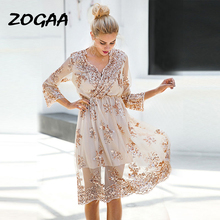 ZOGAA Sexy Sequined Dress Women 2019 Summer V-neck Evening Party Dresses Casual Female Mesh Elegant Streetwear Vestidos De Festa