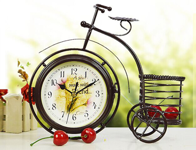 Handmade Vintage Bicycle Clock Bike Mute Two Sided Table Clock