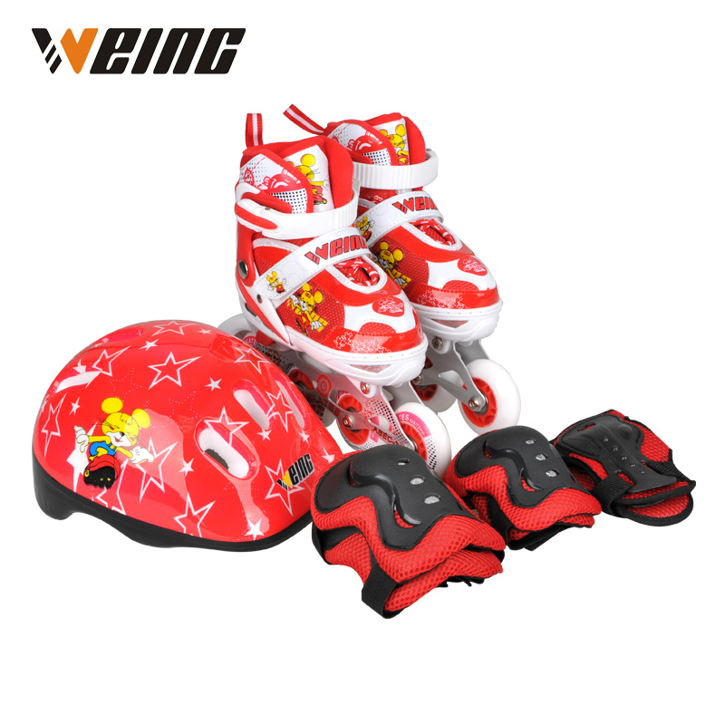 Weing red blue pink kids skates shoes roller blading shoe ice skating shoes with helmet protector xmas red tank top with ice skating snowman print with red ruffles