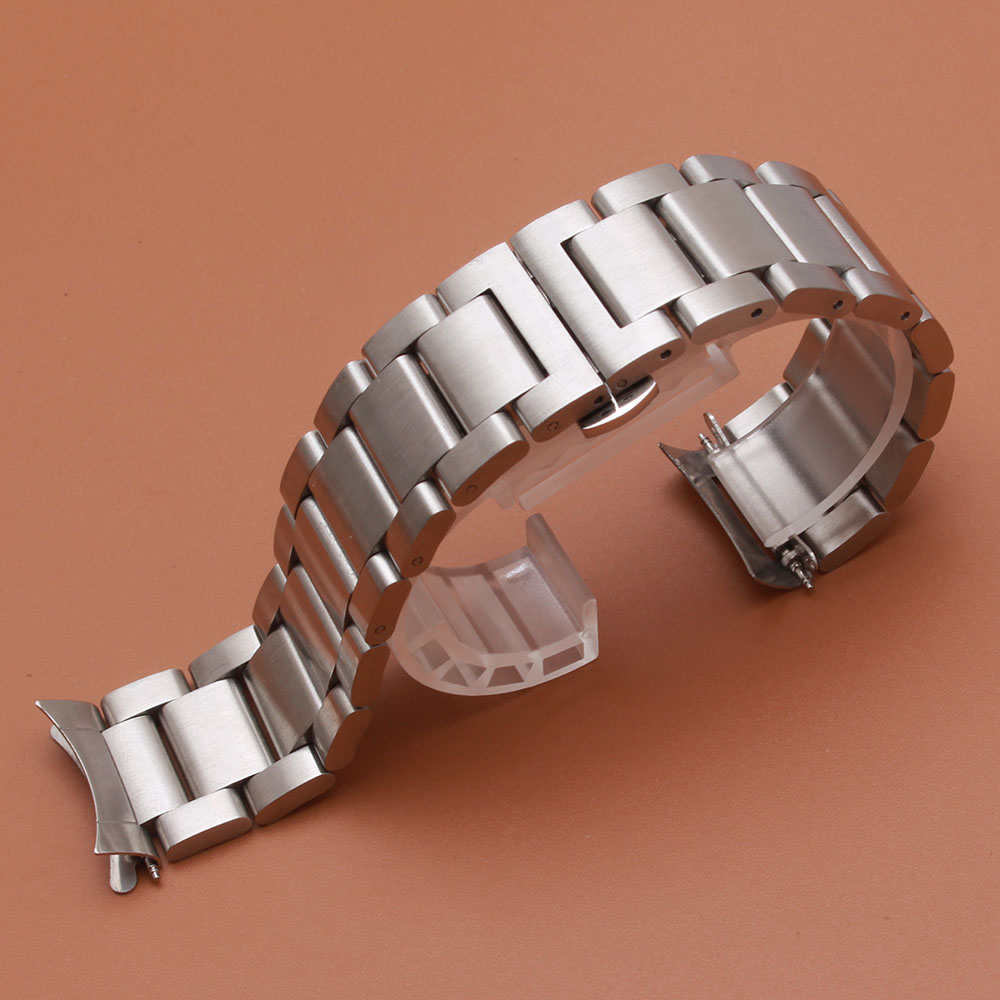 Watchband curved ends silver Black color watches accessories matte stainless steel bracelet strap watchbands fit samsung gear S3 samsung gear fit в казани