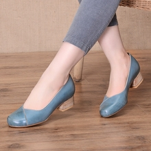 Autumn  Women Big Size Pumps Handmade Genuine Leather Office Lady Shoes Round Toe High Heel Comfortable Style