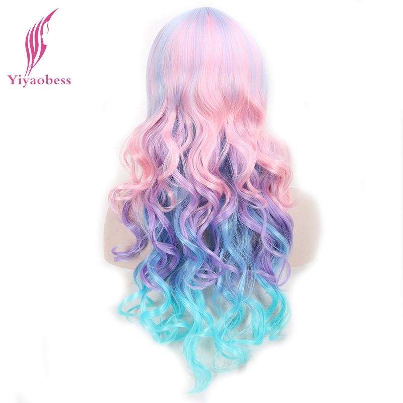 Yiyaobess 24inch Long Colorful Cosplay Wig Heat Resistant Synthetic Curly Pink Purple Green Ombre Wigs For The Dance