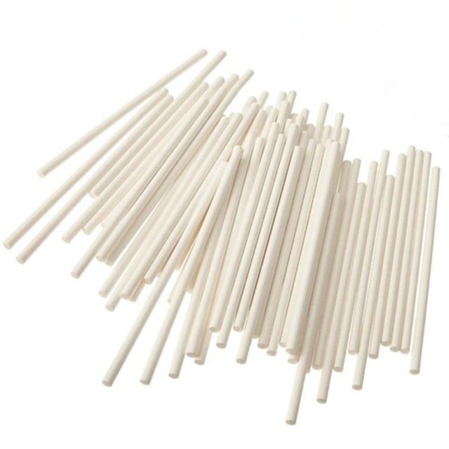 100 Pezzi Lollipop Bastoni Cake Pop Sticks 4 pollici o 6 pollice Bianco