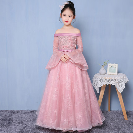 537993c1515 Freeship children's girls pink flare sleeve medieval dress royal princess  stage lace renaissance gown medieval cosplay venicecos