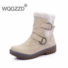 Women's Boots Buckle Strap Warm Dr Women Snow Ankle Boots Round Toe Martin Boots