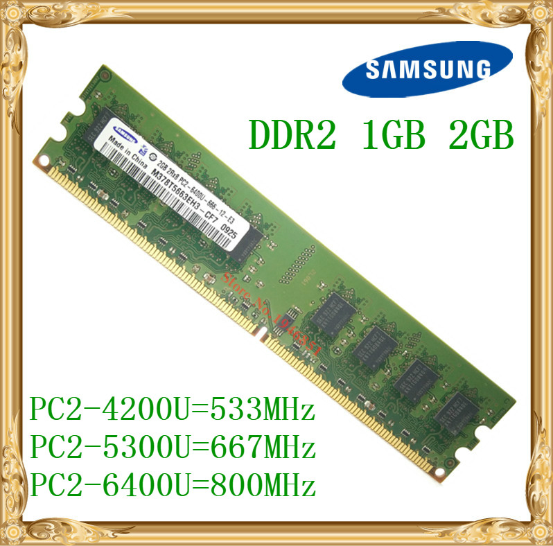 Samsung Desktop memory 1GB 2GB 4GB DDR2 533 667 800MHz PC2-5300 6400U PC RAM 800 6400 2G 240-pin kembona for intel and for a m d pc desktop ddr2 2gb 4gb 1gb ram memoryddr2 800 667 533 mhz pc ddr2 1g 2g 4g