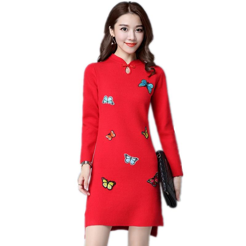 2019 Elegant Autumn winter women knit Long thick wool sweater retro cheongsam Butterfly embroidered Slim cashmere dresses SUN54