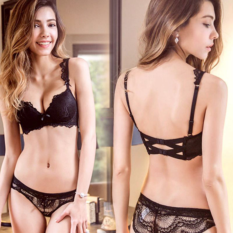 Super Gather Bra Panties Sets Black Brassiere Cotton Women Underwear Set Deep V Push Up Bras Sexy Lingerie Set Lace Embroidery