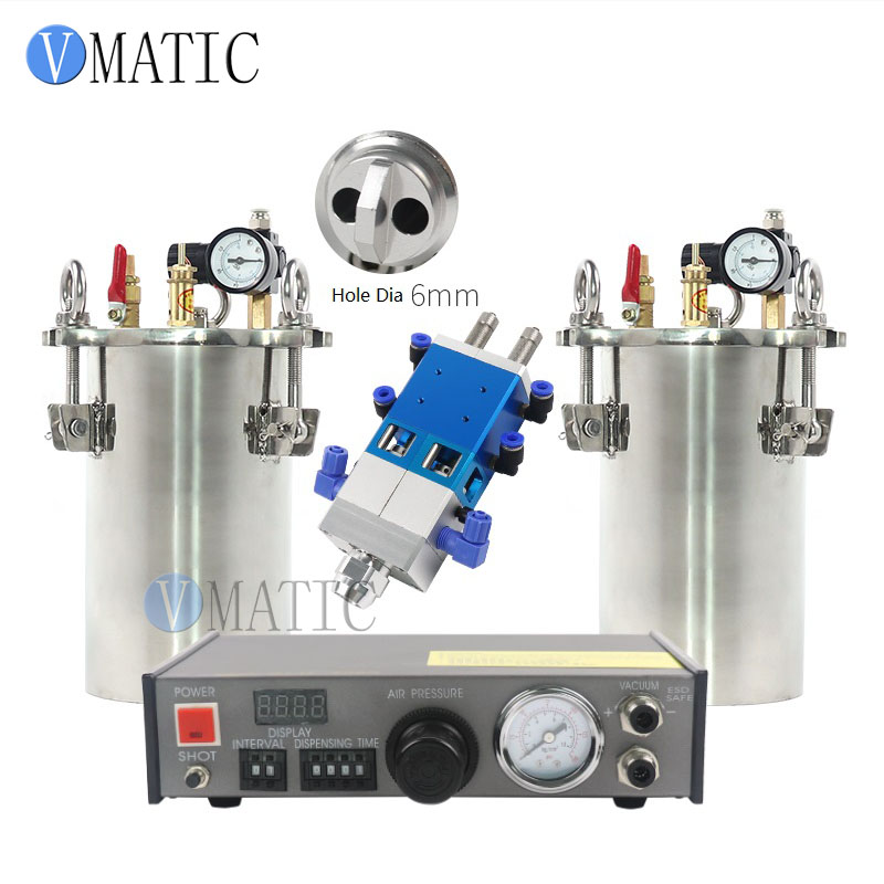 Free Shipping Fedex Express Automatic Glue Dispensing Machine + 2 Pcs 2L Pressure Tank + Dual Valve Big Flow automatic dispenser stainless steel pressure tank thimble style double liquid dispensing valve free shipping fedex or ups