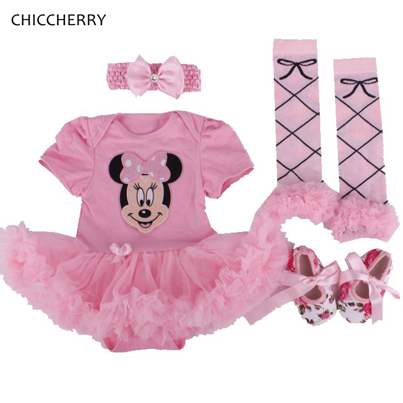 Pink Minnie Applique Toddler Birthday Tutus Infant Lace Tutu Set Headband Legwarmers Shoes Party Romper Dress Roupa Kids Outfits crown princess 1 year girl birthday dress headband infant lace tutu set toddler party outfits vestido cotton baby girl clothes