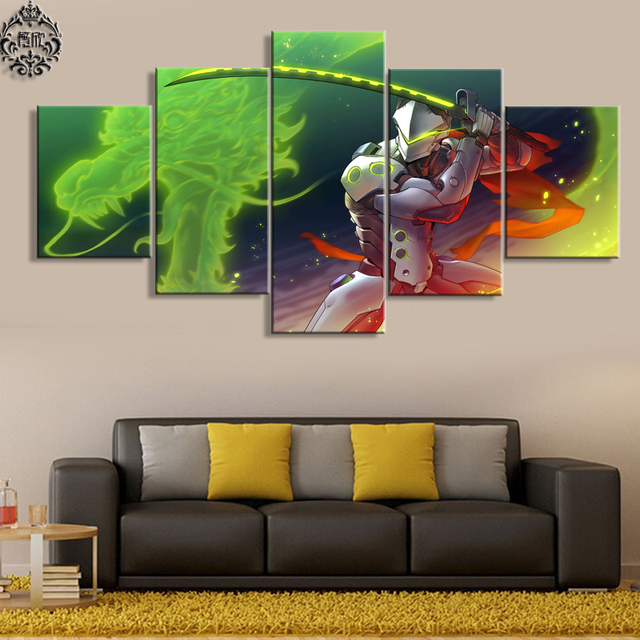 Canvas Printed Pictures 5 Pieces Wall Art Poster Overwatch Genji Game Painting Artwork Home Decor For Living Room Modern Cuadros