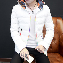 Explosive youth color-blocked cotton coat Mens winter jacket Korean version of slim down padded student hooded camouflag