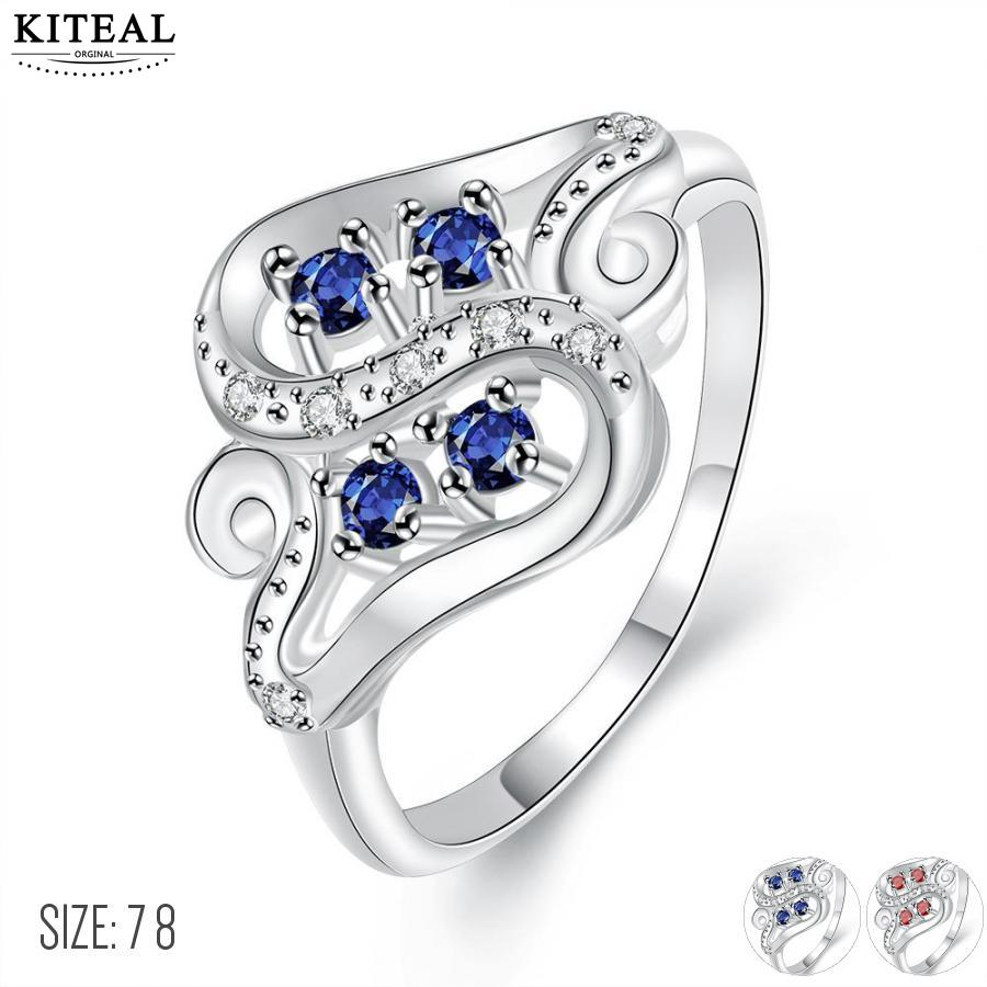 KITEAL Anillos Zircon Engagement-Ring Crystal Silver-Plated Red-Size 7 To.us Bear 8 Blue