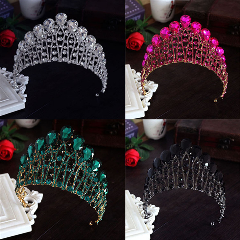 4 Color Large Queen King Pageant Crown for Wedding Tiaras and Crowns Big Crystal Rhinestone Prom Party Ornaments Hair Jewelry queen and king style party cosplay headwears golden 2 pcs