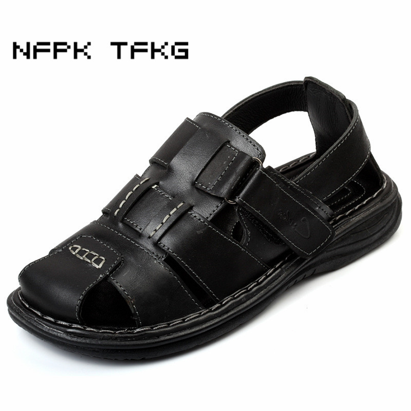 mens leisure cow leather beach shoes covers toe summer sandals zapatos hombre home daily sandalet flats platform seaside dress