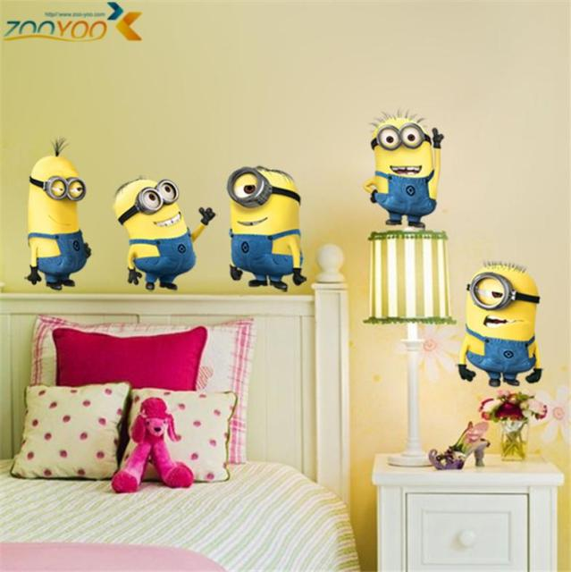 despicable me 2 minions wall stickers for kids rooms zooyoo1404 decorative  wall art removable pvc cartoon