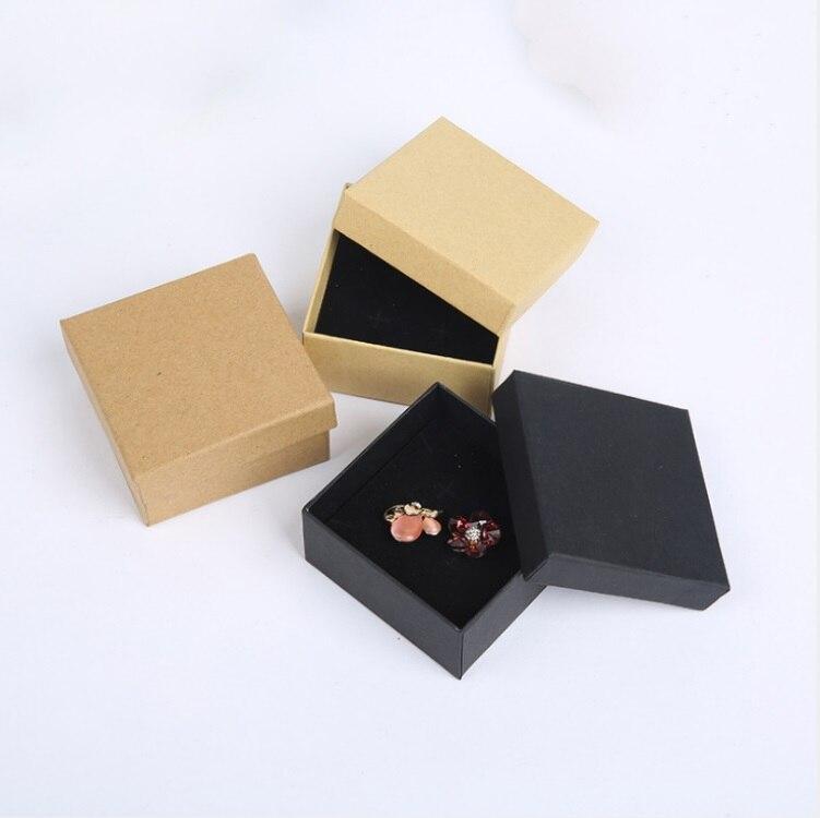 Мода крафт-бумага 12 шт./лот Новый 7*7 см Jewery Организатор Box Кольца хранения милый коробка подарочная коробка для кольца серьги Цепочки и ожере...
