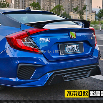 For Honda Civic Spoiler 2016-2017 ABS Plastic painted Color Rear Roof Spoiler Wing Trunk Lip Boot Cover Car Styling