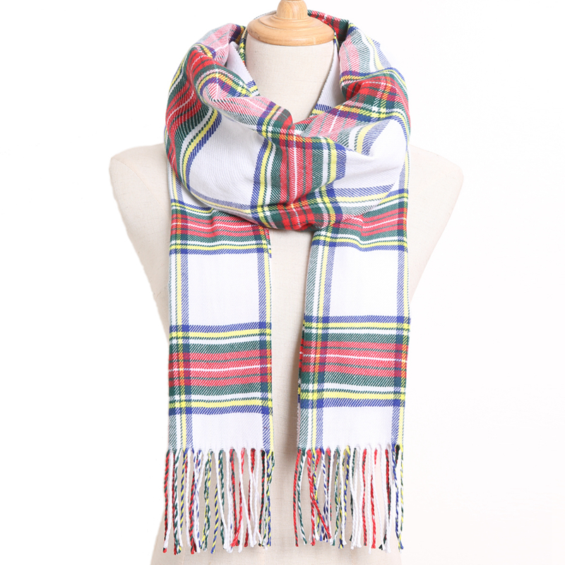 [VIANOSI] клетчатый зимний шарф женский тёплый платок одноцветные шарфы модные шарфы на каждый день кашемировые шарфы - Цвет: 20