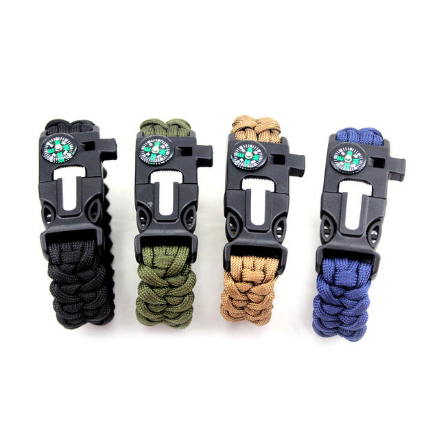 2018 Outdoor Paracord Survival Bracelets for Men Women Bangles Jewelry Wrap Umbrella Rope Knife 5 in 1 Multi-function Bracelets
