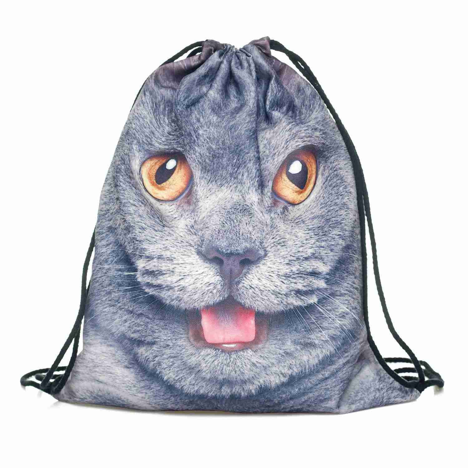 DCOS-Mens Womens Kids bag Teenage Drawstring Bag Shoulder School Backpack Rucksack Handbag String Travel Gym(cat)