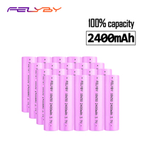 FELYBY Sales of High quality 20PCS Battery 18650 Lithium Battery Charger 2400mAh 3.7v Rechargeable Battery with USB Charger