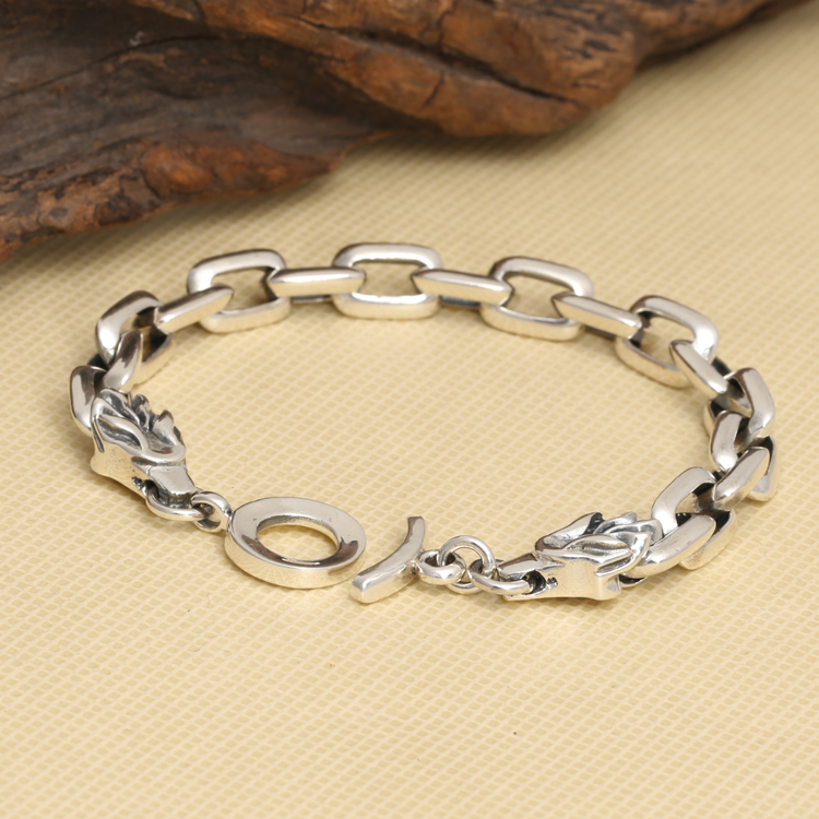 Handmade Thailand 925 Siilver Dragon Head Bracelet Vintage Sterling Silver Dragon Chain Bracelet Pure Silver Bracelet pinsen fashion women shoes summer breathable lace up casual shoes big size 35 42 light comfort light weight air mesh women flats