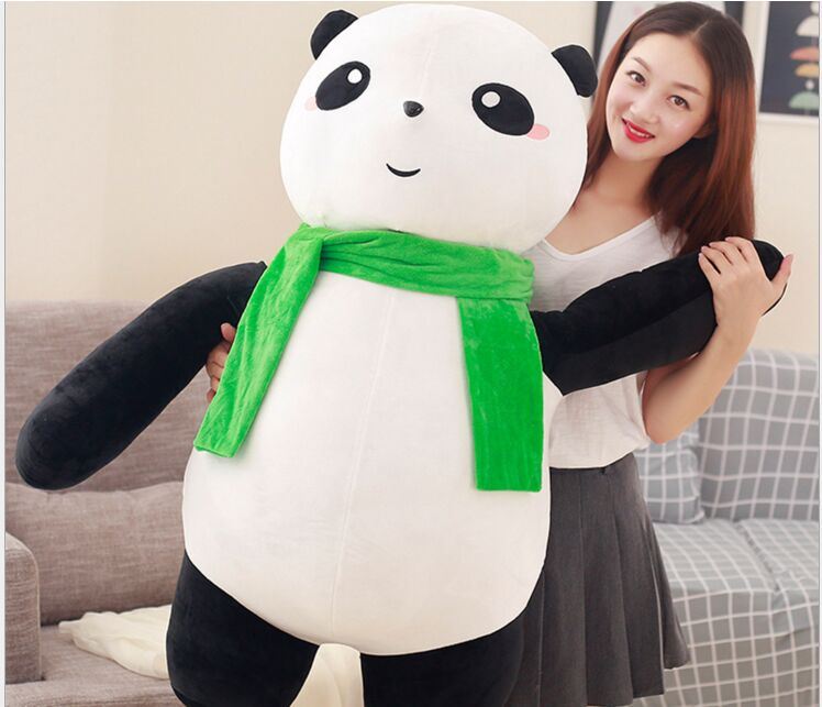 huge lovely plush panda toy big fat scarf soft panda doll gift about 100cm 2945