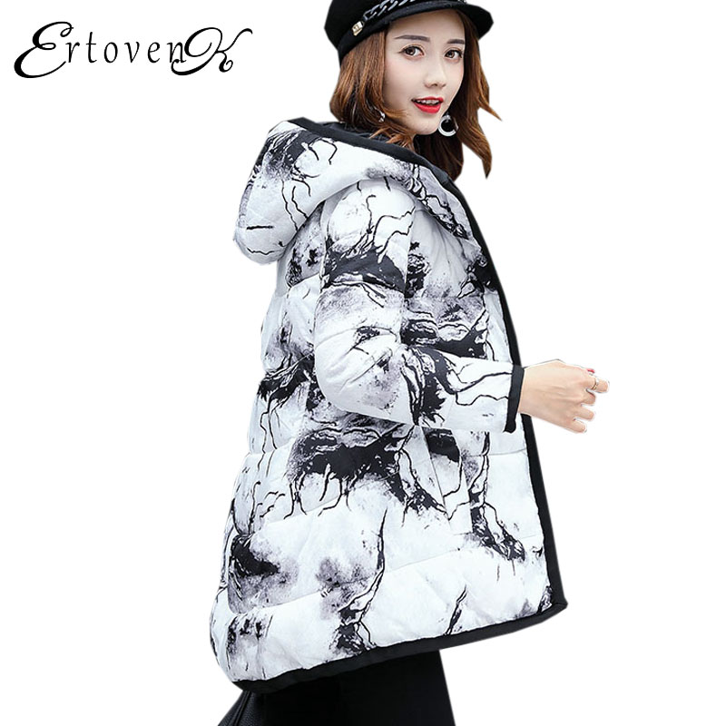 Printed Cotton Coat Winter Women parka New 2017 Large size Outerwear Hooded Loose Jacket warm Female Feather Padded overcoatC142 maison jules new blue women large l umbrella printed surplice jumpsuit $79 059