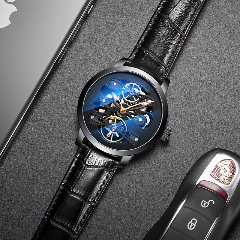 AILANG Nieuwe mode luxe merk lederen horloge automatische mechanische mannen horloges skelet horloge Mannelijke erkek kol saati-in Mechanische Horloges van Horloges op  Groep 2