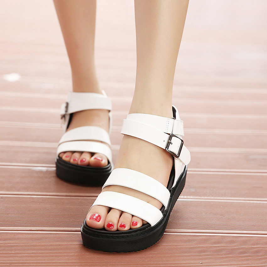 2017 Summer Fashion Sexy Girl Black White Flat Sandals Platform Wedges High Heels Women Sandals Peep Toe Woman  Casual Shoes phyanic 2017 gladiator sandals gold silver shoes woman summer platform wedges glitters creepers casual women shoes phy3323