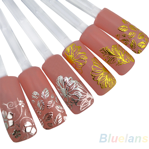 New High Quality Silver 3D Flower Nail Art Stickers Decals Decorations Hot stamping 1pcs flower nail art decals new fashion