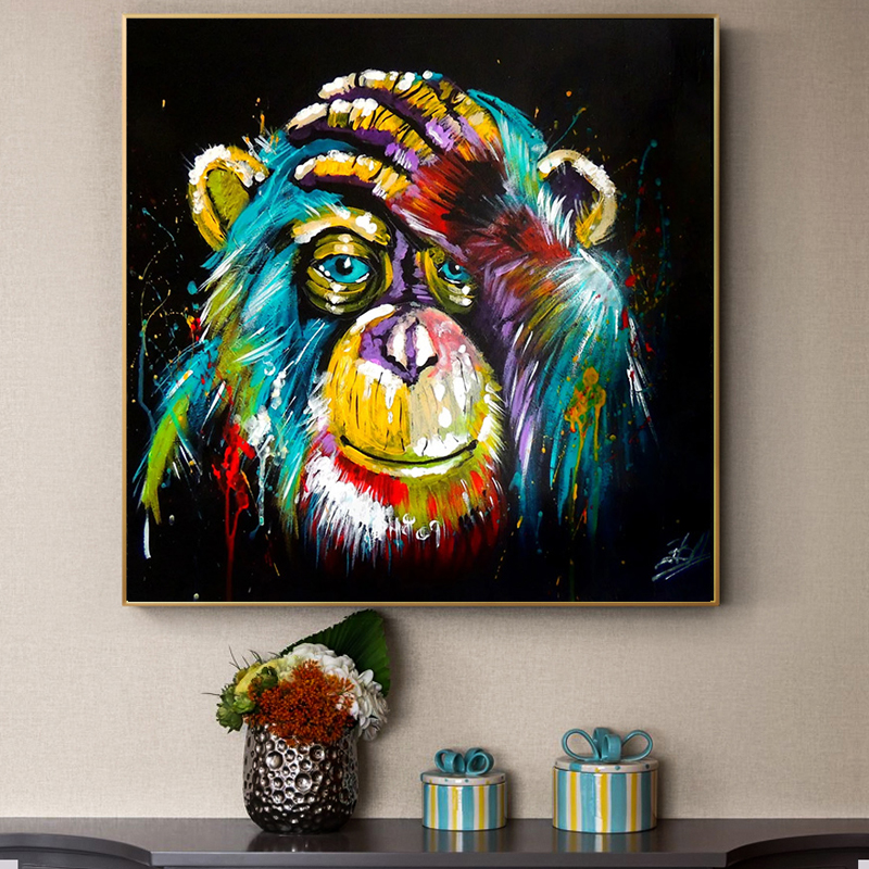Posters and Prints Wall Art Canvas Painting Abstract Watercolor Baboon Decorative Pictures for Living Room Cuadros Salon Decor in Painting Calligraphy from Home Garden