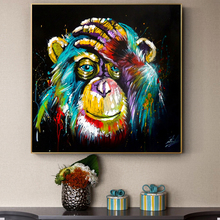 Posters and Prints Wall Art Canvas Painting Abstract Watercolor Baboon Decorative Pictures for Living Room Cuadros Salon Decor