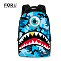 Classic Blue Camouflage Men's Backpack Bagpacks Military Travel Bags Large Capacity Laptop Backpacks 3D Shark Tooth Canvas Bags