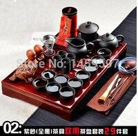 Free Shipping Hot Sale Yixing Ceramic Kung Fu Tea Set Solid Wood Tea Tray Teapot 27