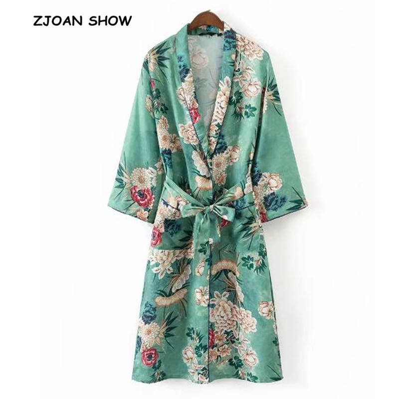 Women Ethnic Flower Print With Sashes Kimono Shirt Retro New Bandage Cardigan Blouse Tops Blusas Chemise Femme Blusa High Quality Materials Blouses & Shirts