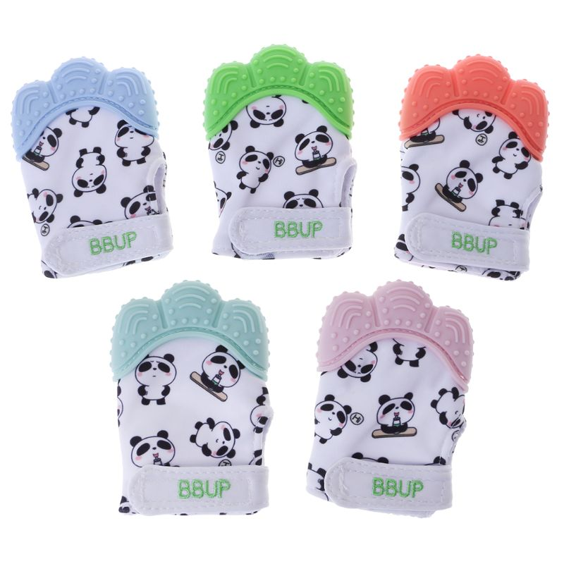 Baby Teether Gloves Panda Cute Cartoon Convex BPA Free Silicone Chew Oral Care