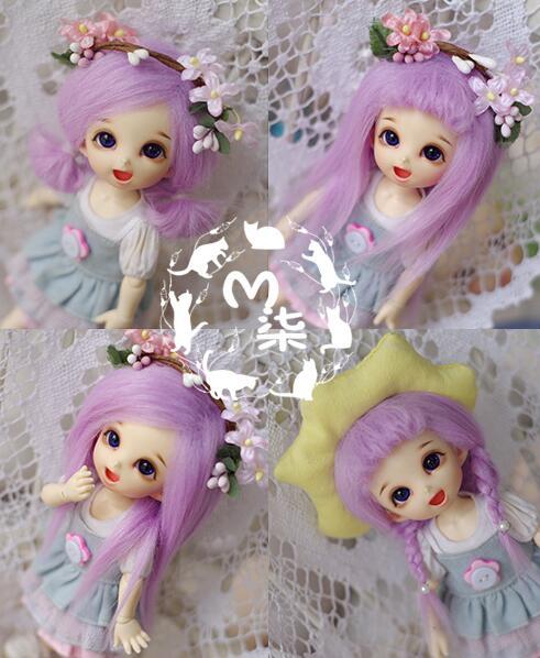 New 1/12 3-4 inch 9-10cm 1/8 4-5 inch 12cm 14cm BJD Purple long straight For AE PukiFee lati Doll Antiskid BJD Doll Wig uncle 1 3 1 4 1 6 doll accessories for bjd sd bjd eyelashes for doll 1 pair tx 03