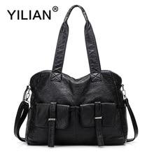 YILIAN 2017 New Woman Shoulder Bag Genuine Leather with Big Capacity Classic Black Cowhide Handbag Casual 1831