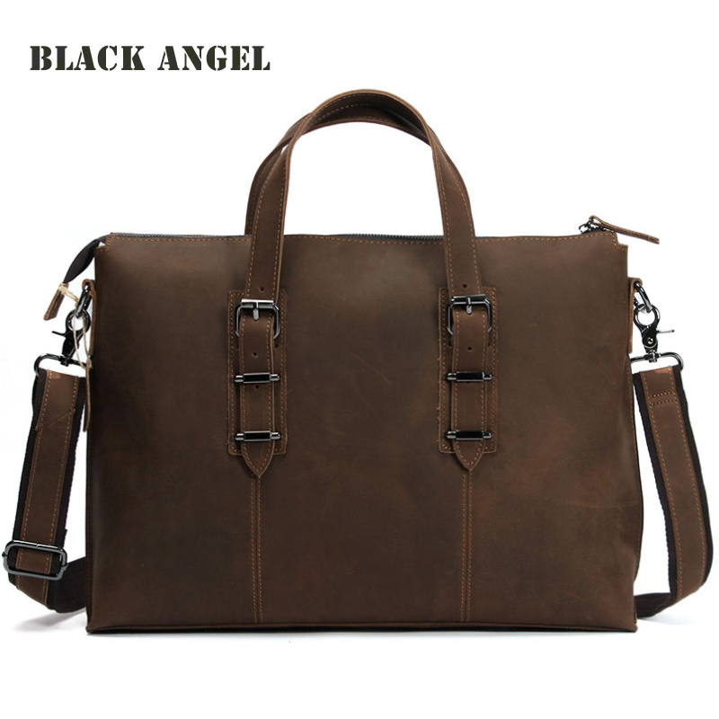 New Genuine Leather Men briefcase Business Bag Crazy Horse Cow Leather messenger bag shoulder 14 laptop bag new men s crazy horse genuine leather messenger shoulder pack documents business portable clutch bag portable wrist bag