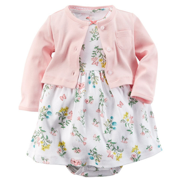 Spring Baby Girls Clothing Sets Autumn Newborn Baby Clothes Roupas Bebe Infant Jumpsuits Cotton Baby Girl Clothes Baby Dress