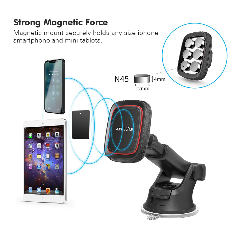 Yianerm Magnetic Car Phone Mount Holder For iPhone Xs Max Dashboard Suction Cup Holder with Telescopic Arm in Car For Samsung S9