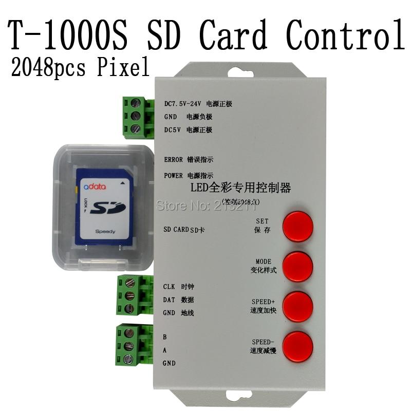 T1000S T-1000S ledet pikselmodul SD-kortkontroller for WS2801 WS2811 UCS1903 RGB fullfarge RGB spille av video SPI-kontroller