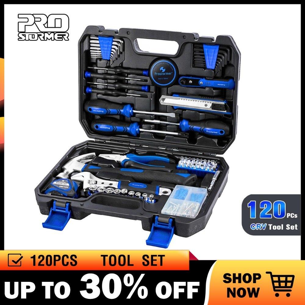 Prostormer 120 pièces combinaison ménage main outil ensemble réparation clé à cliquet clé à douille professionnel outils Kits fort cas