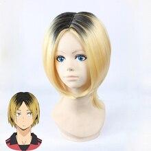 Haikyuu!! Kozume Kenma peruka do cosplay 35cm krótkie proste żaroodporne włosy syntetyczne czarne gradientowe Blond złoto Anime peruka