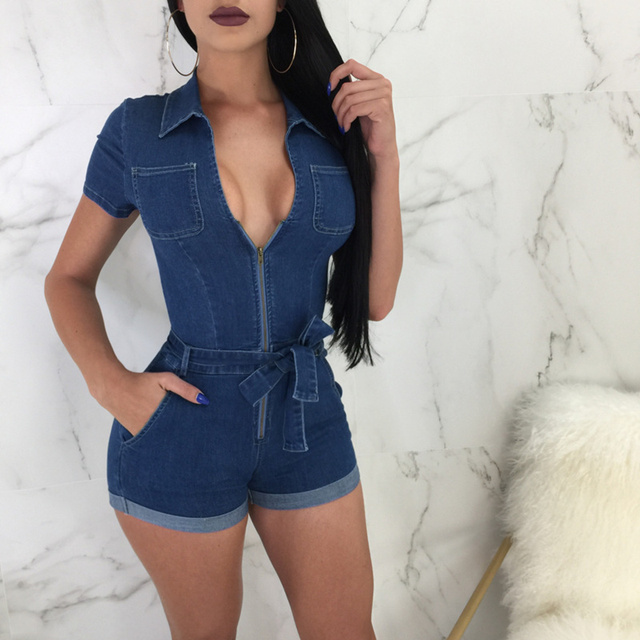 3bdd4a1de52 zip front women jumpsuit jeans 2018 sexy playsuit deep-v neck pocket summer  overalls lace-up short sleeve shorts rompers