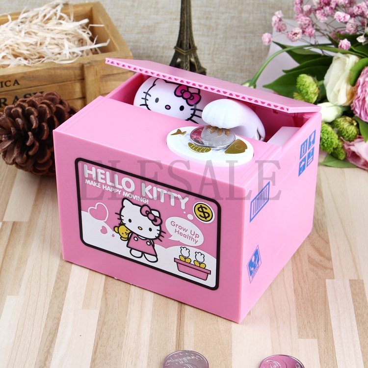 Hello Kitty Brand New Steal Coin Piggy Bank Electronic Plastic Money Safety Box Coin Bank Money boxes new chatora cat itazura automatic kitty cat steal coin piggy bank savings box white